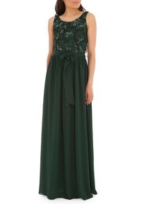 Sequined Lace Cami Gown with Georgette S