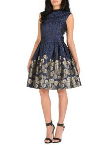Badgley Mischka Iman Flared Animal Floral Print Dress