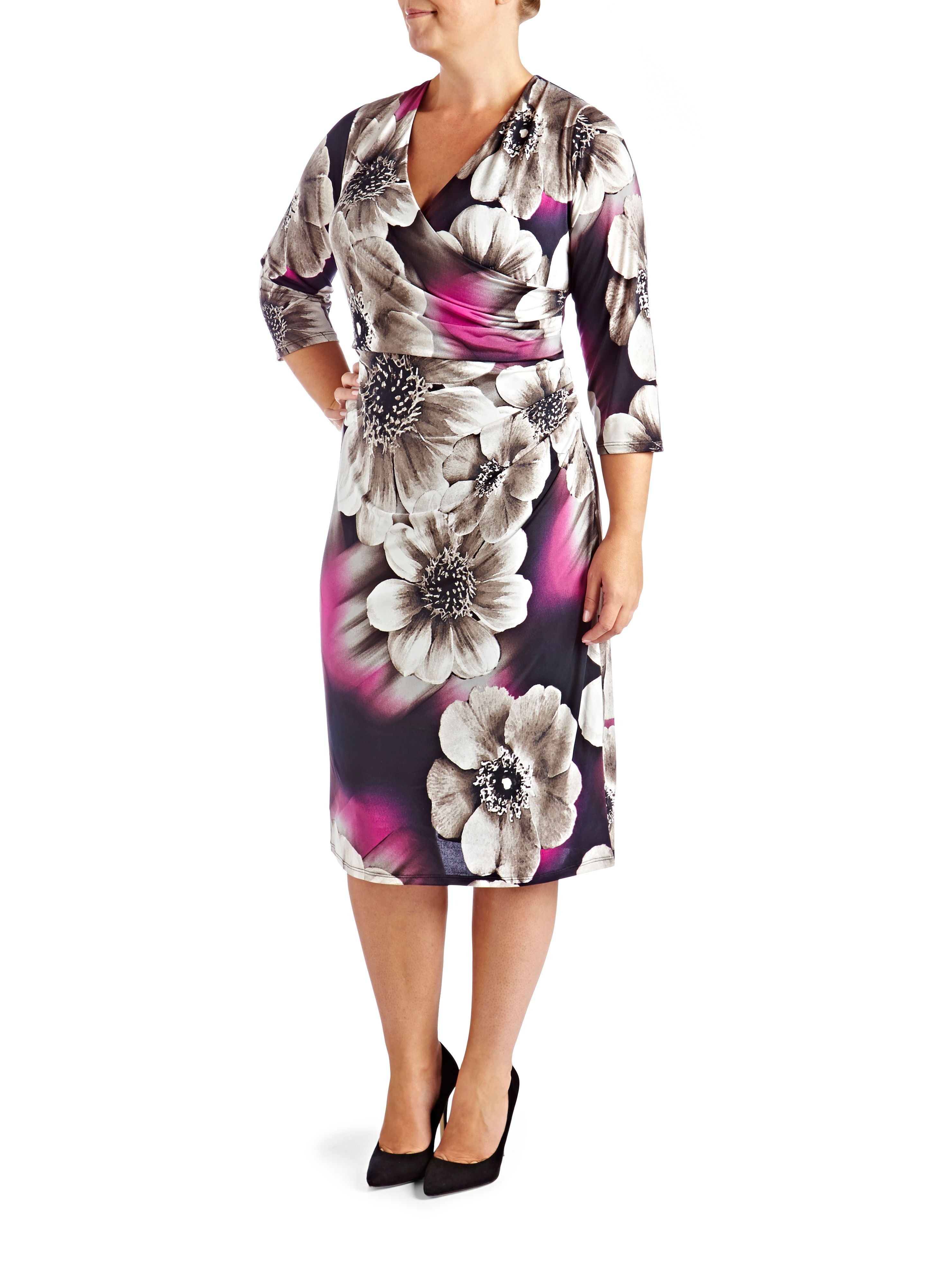 Grace Plus Size floral midi dress $59.00 AT vintagedancer.com