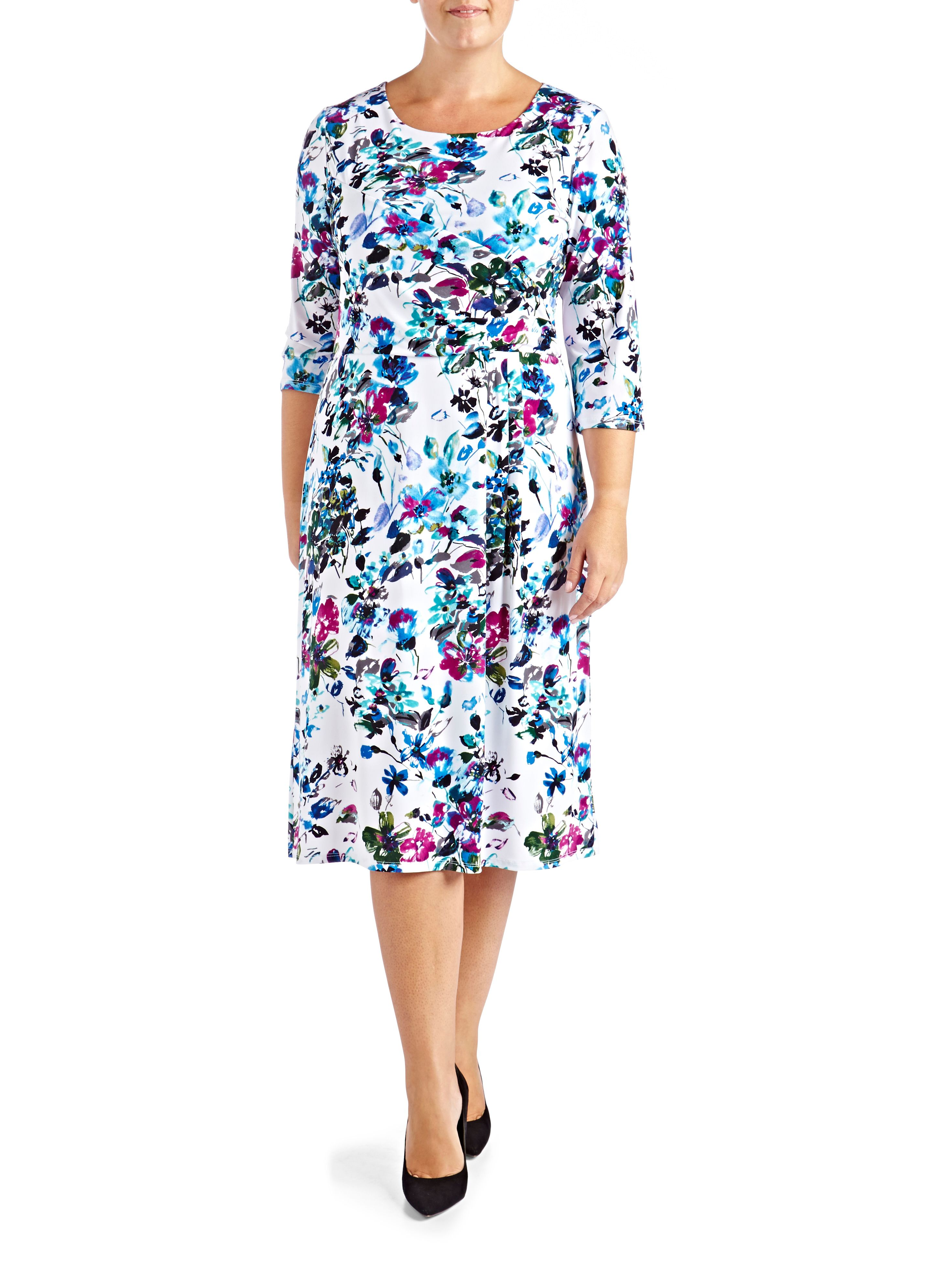 Grace Plus Size floral midi dress $45.00 AT vintagedancer.com