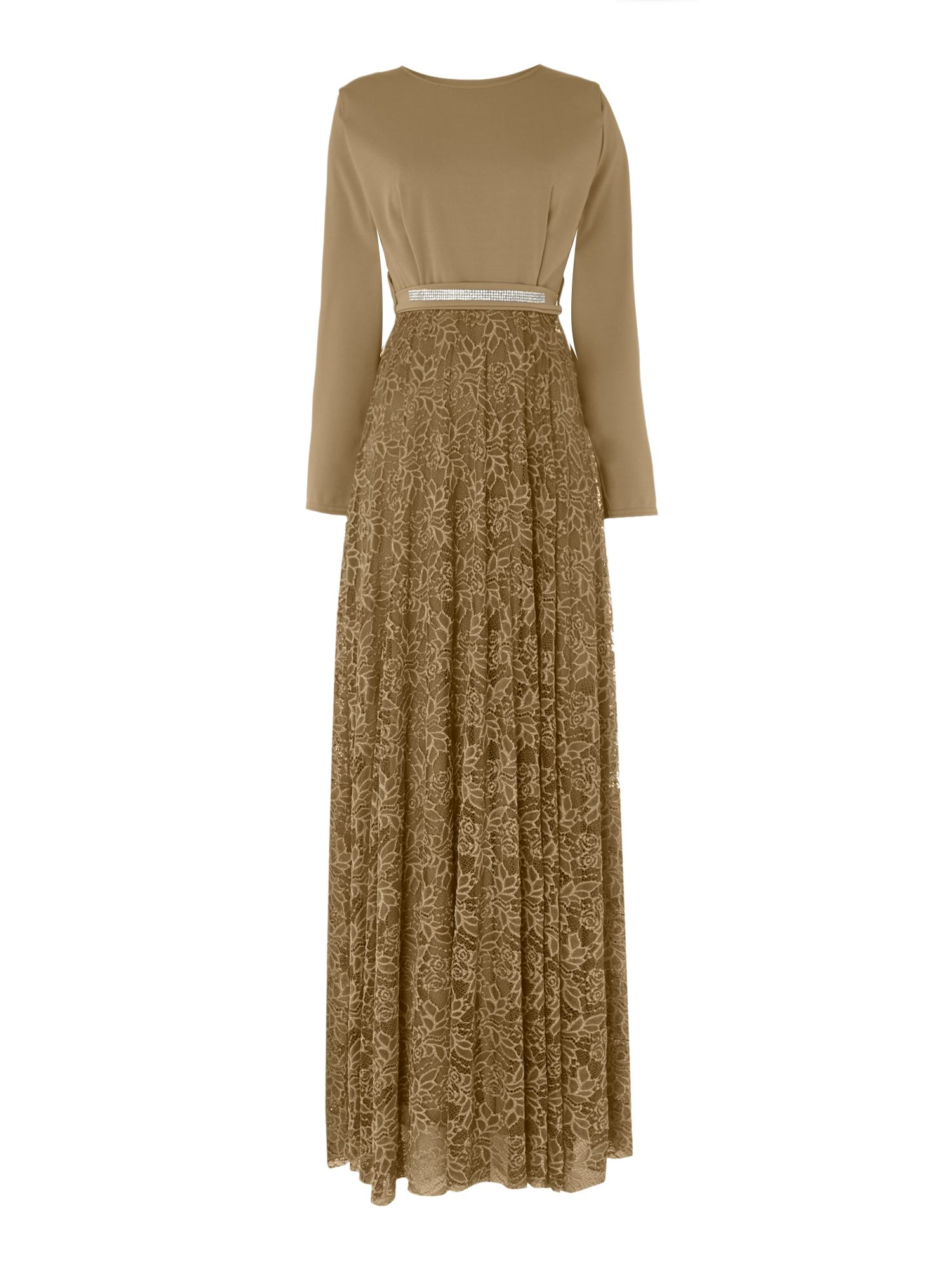 Shorso Diamante Lace Maxi Dress, Almond Cream