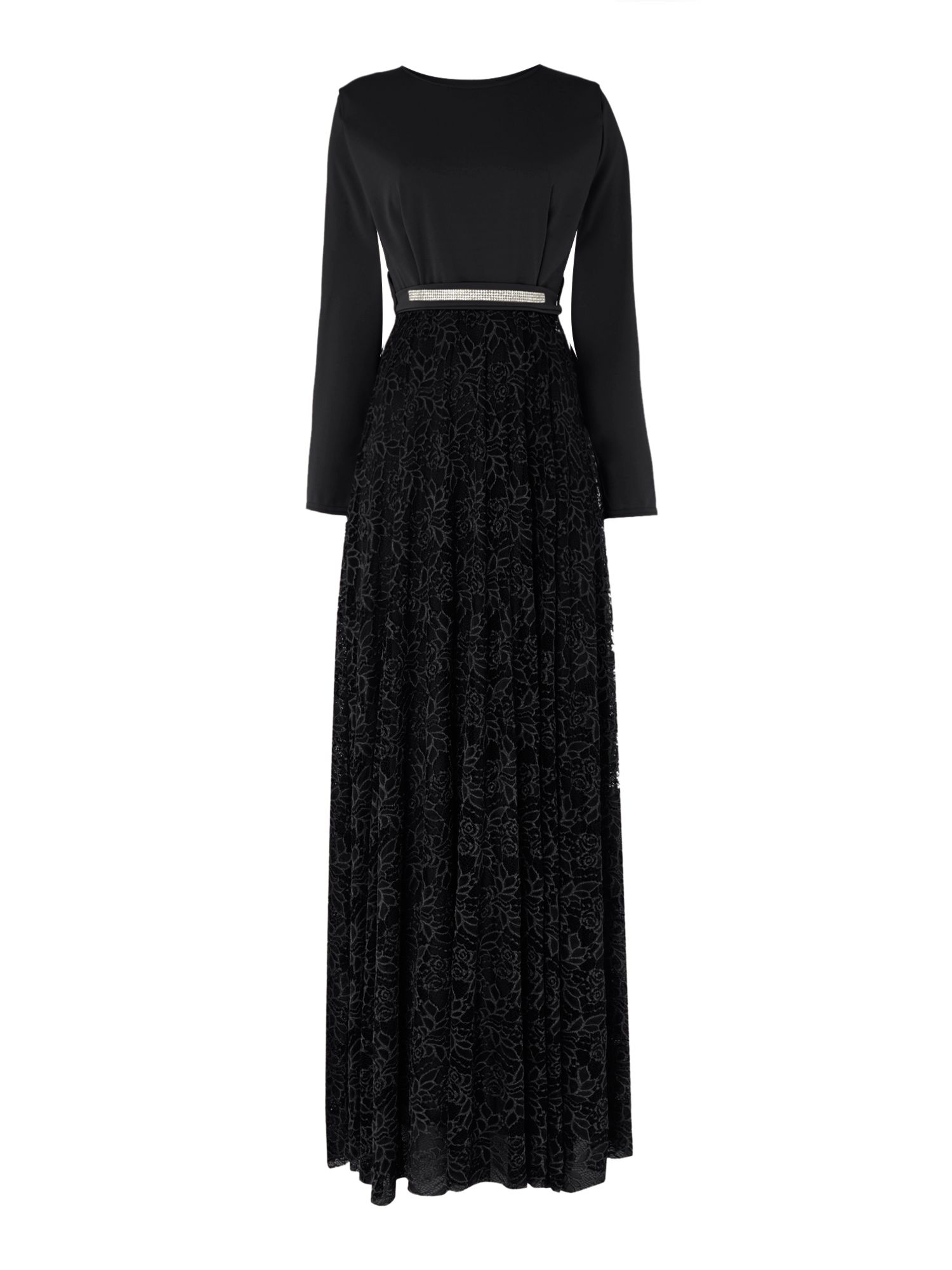 Shorso Diamante Lace Maxi Dress, Black