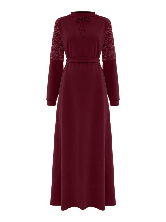 Shorso Lace Maxi Dress, Maroon