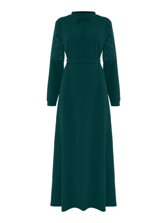 Shorso Lace Maxi Dress, Bottle Green