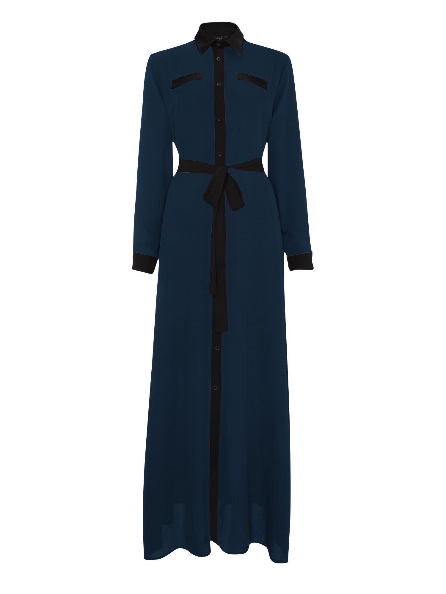 Shorso Two tone maxi shirt dress, Blue