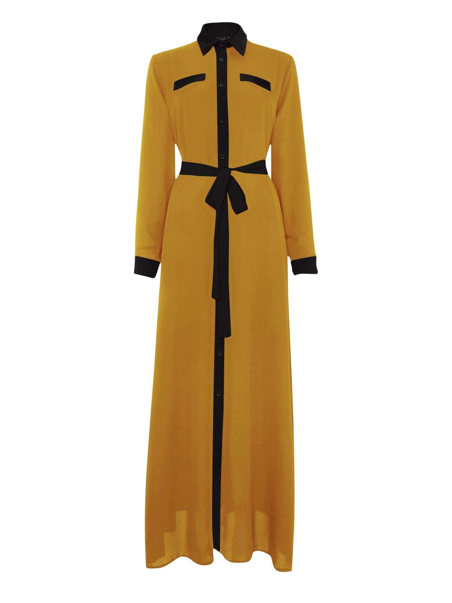 Shorso Two tone maxi shirt dress, Mustard