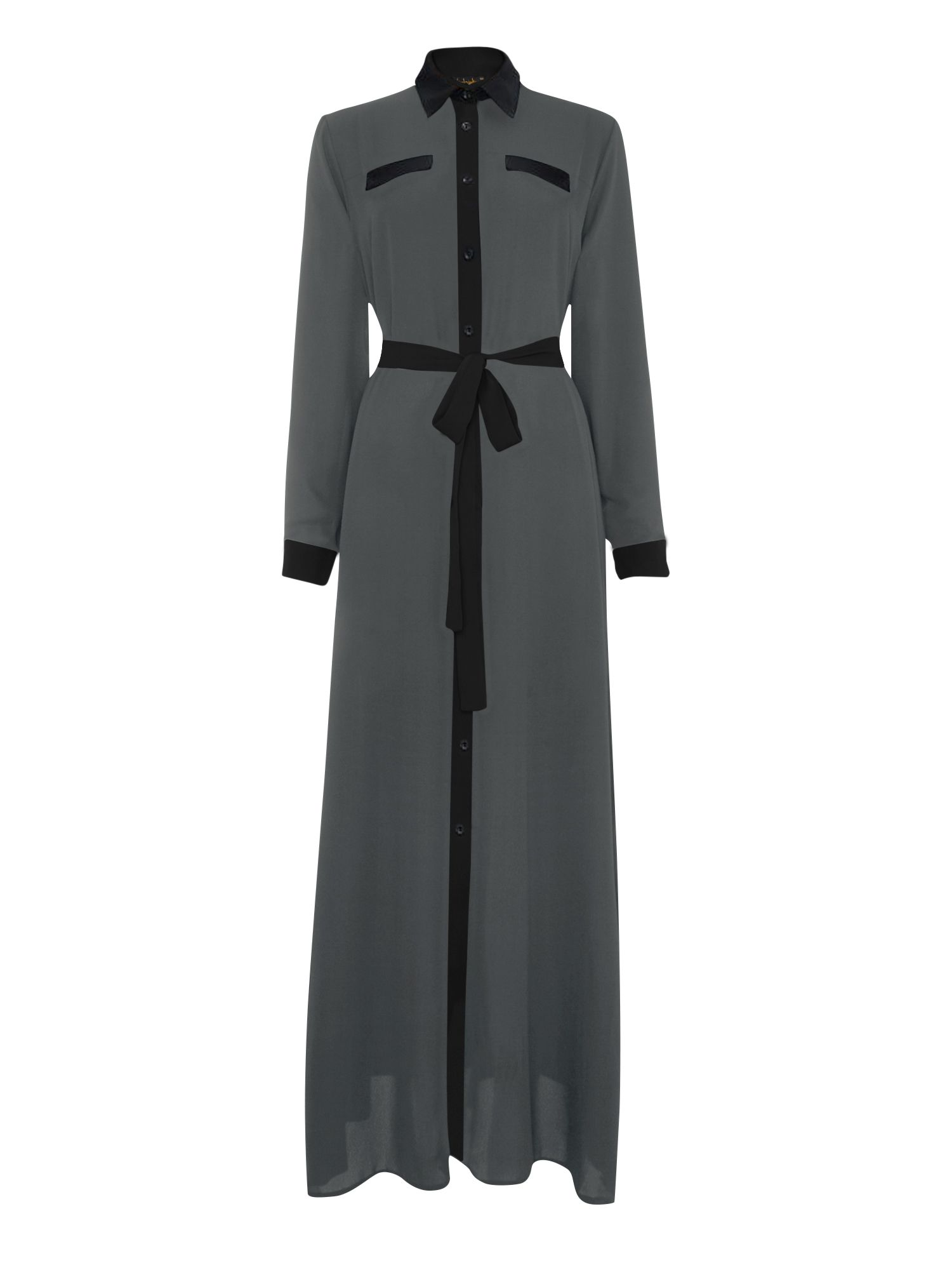 Shorso Two tone maxi shirt dress, Charcoal
