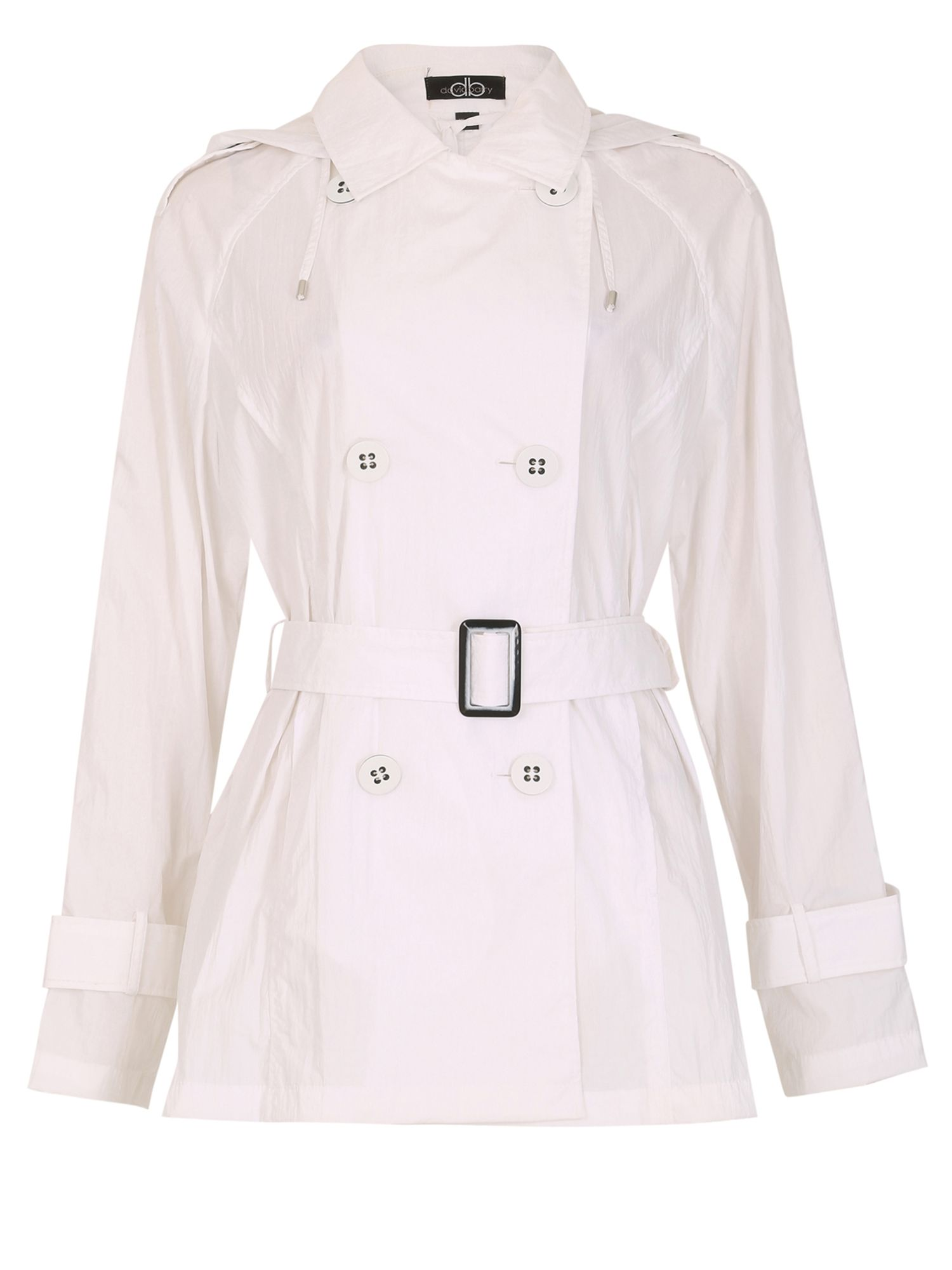 David Barry Memory Fabric Trench Rain Jacket, White