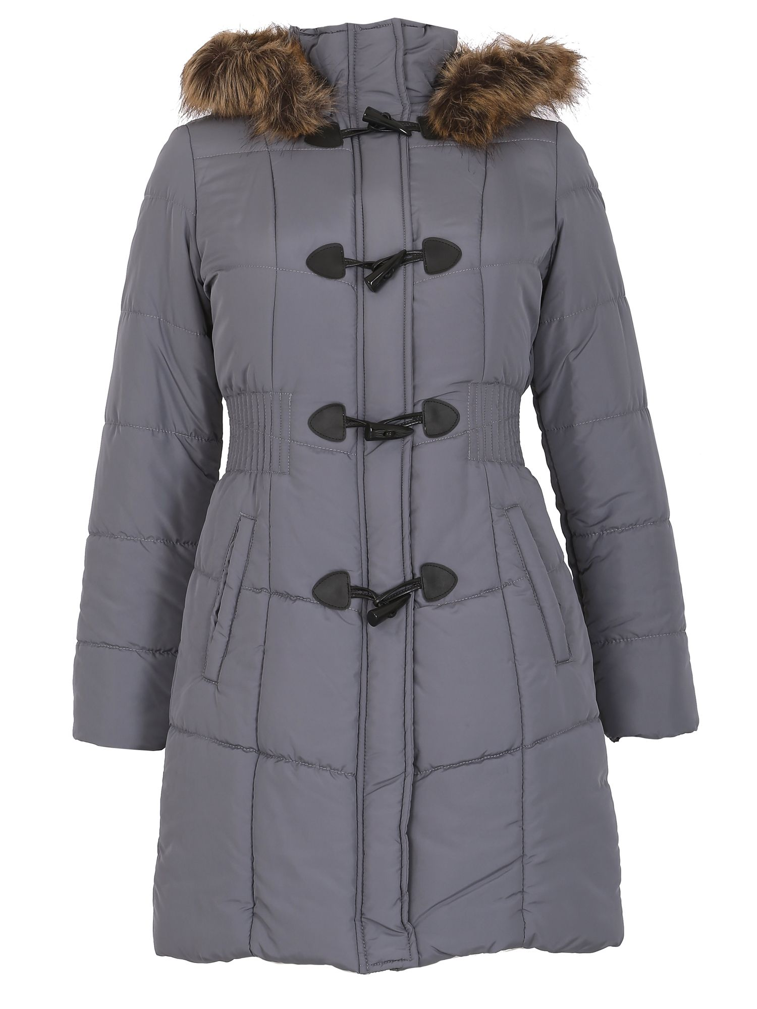 David Barry David Barry Womens Warm Padded Parka Coat, Charcoal