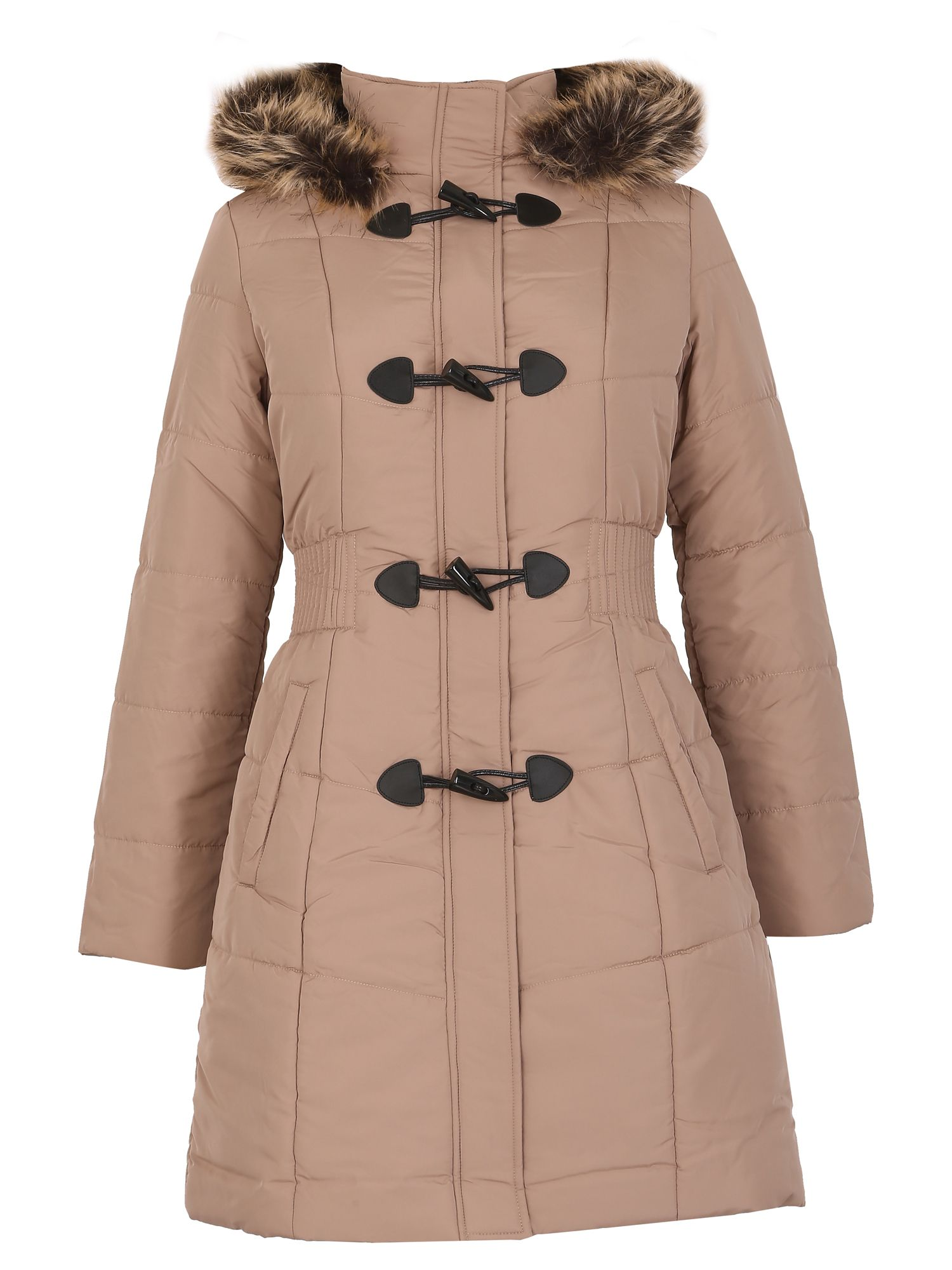 David Barry David Barry Womens Warm Padded Parka Coat, Beige
