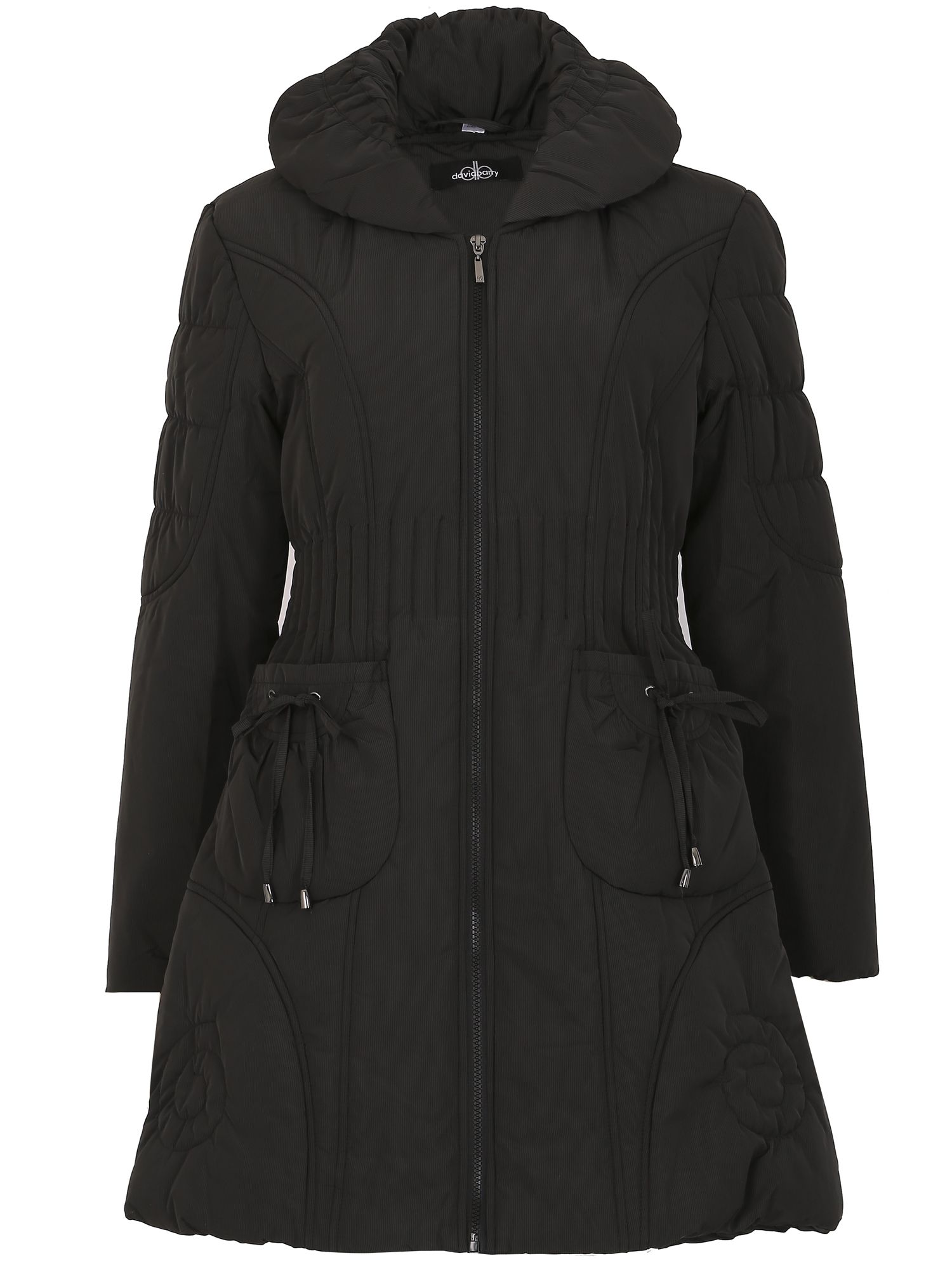 David Barry Ruched Collar 7/8 Quilted Coat, Black
