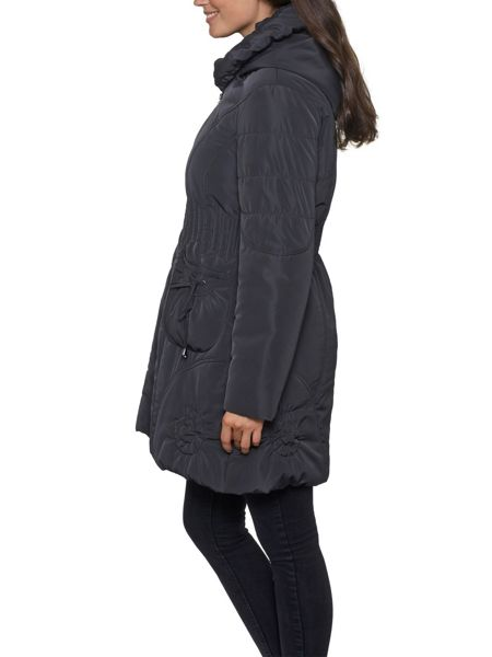 David Barry Ruched Collar 7/8 Quilted Coat