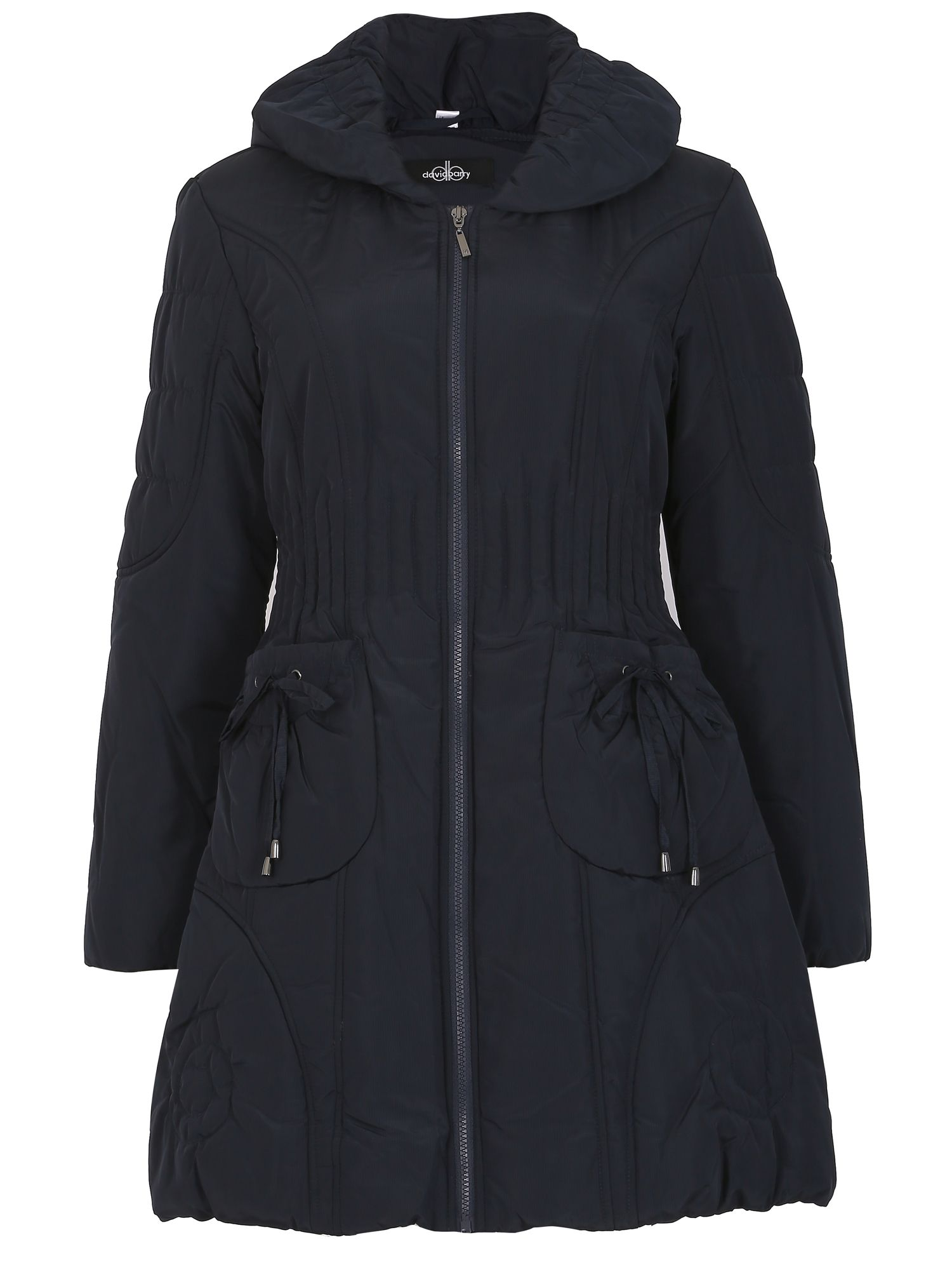 David Barry Ruched Collar 7/8 Quilted Coat, Blue