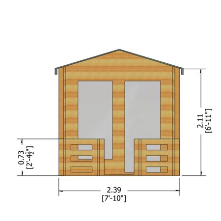 Honeywood Garden Buildings Maulden with veranda 19mm log cabin 8 x 8