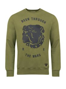 British Bulldog Print Cotton Sweatshirt