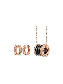 Emilie pendant earring set black rose