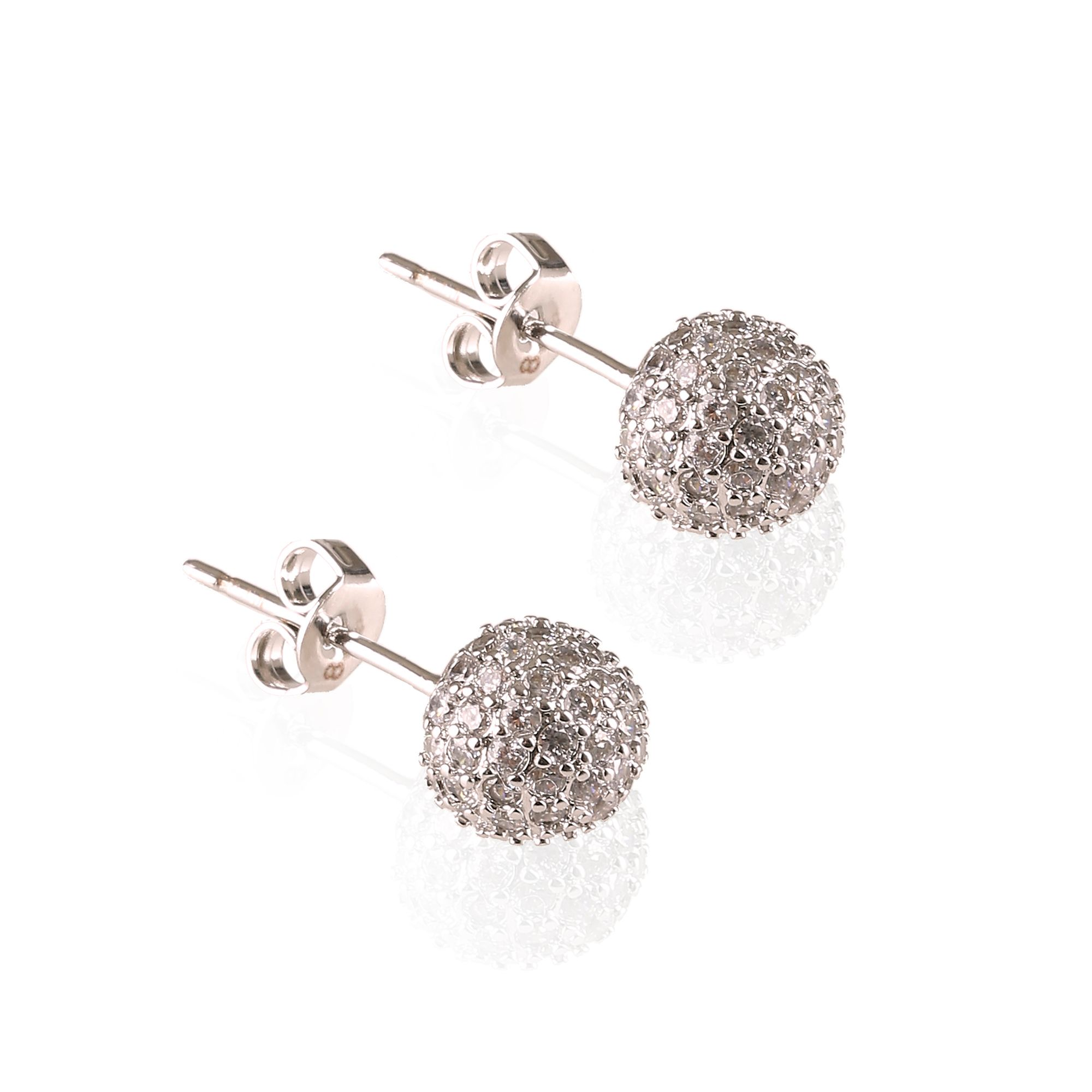 infinity and co dianna snowball earrings rhodium