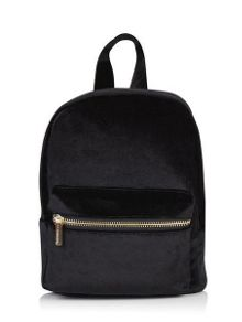 Skinnydip Black Crushed Velvet Backpack