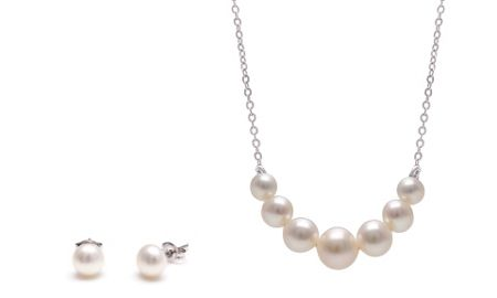 Kyoto Pearl Pearl bar necklace with pearl studs