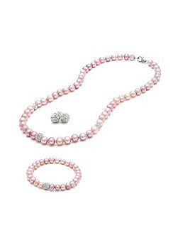 Pearl and crystal ball tri set