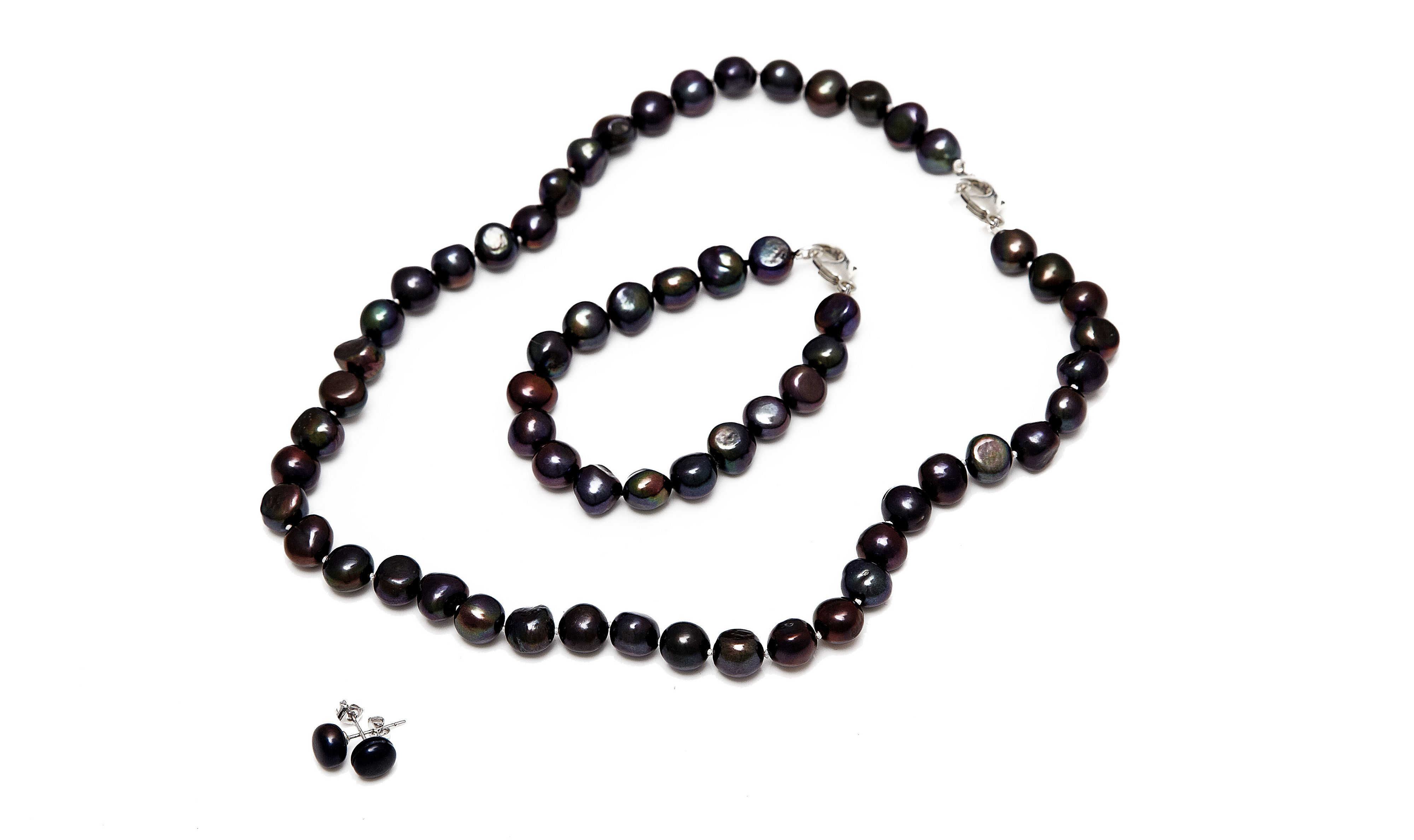 Kyoto Pearl Five row twisted baroque pearl necklace Black
