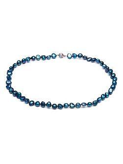 Saphire Blue Baroque Pearl Necklace