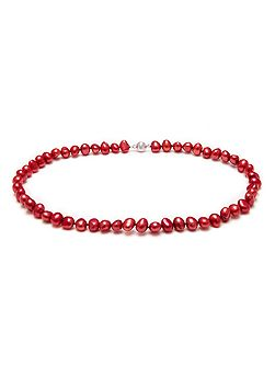 Red Baroque Pearl Necklace