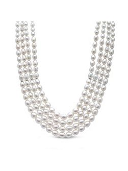 Five Row Freshwater Rice Pearl Necklace