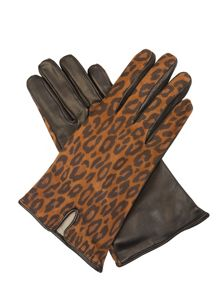 Cornelia James Eloise Suede Animal Print Gloves
