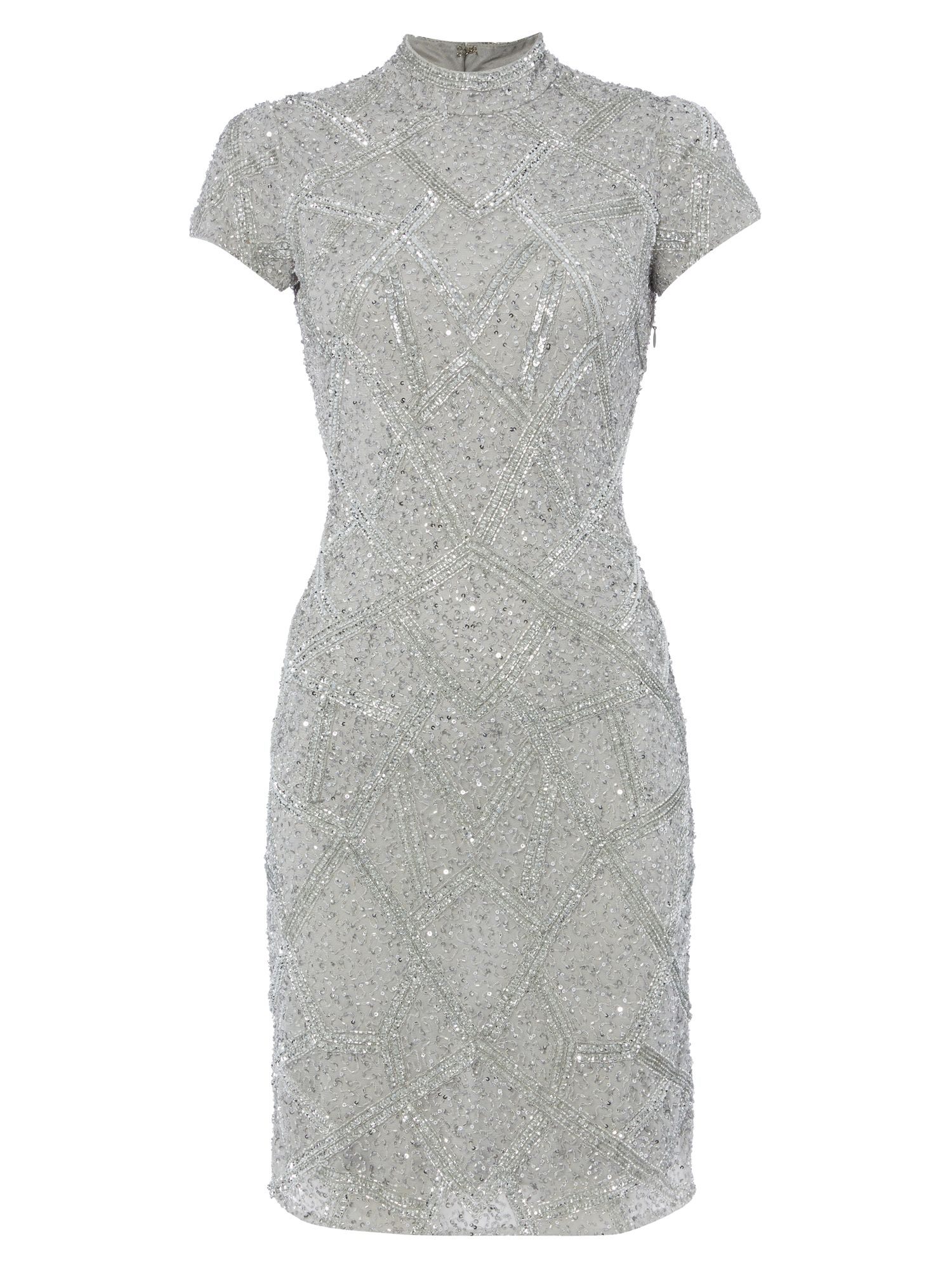 RAISHMA Silver High Neck Dress, Silver Silverlic