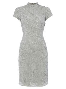 RAISHMA Silver High Neck Dress