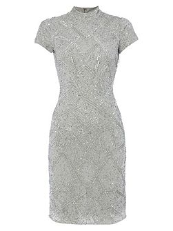 Silver High Neck Dress