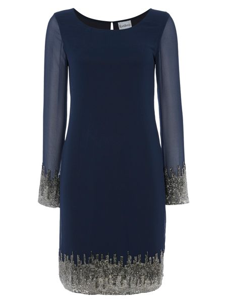 RAISHMA Navy Dress with Silver Embellishment