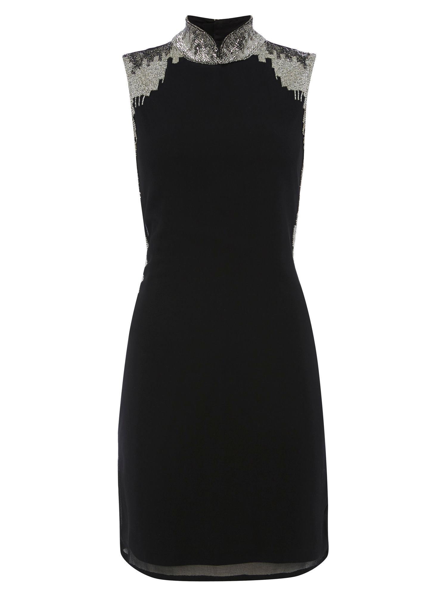 RAISHMA Black High Collar Embellished Dress, Black