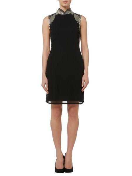 RAISHMA Black High Collar Embellished Dress