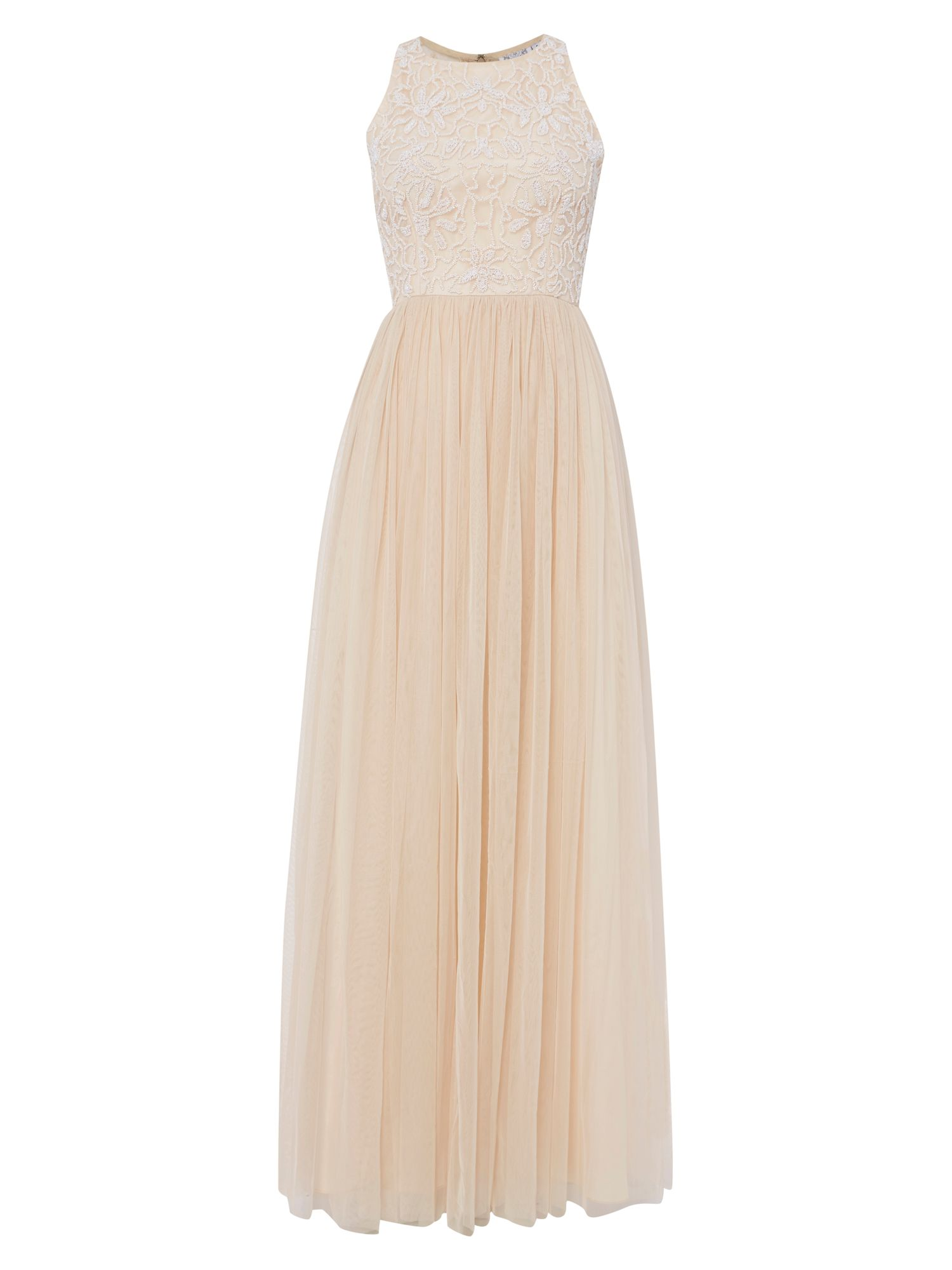 RAISHMA Ice Peach Glass Beaded Gown, Peach