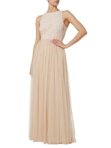 RAISHMA Ice Peach Glass Beaded Gown