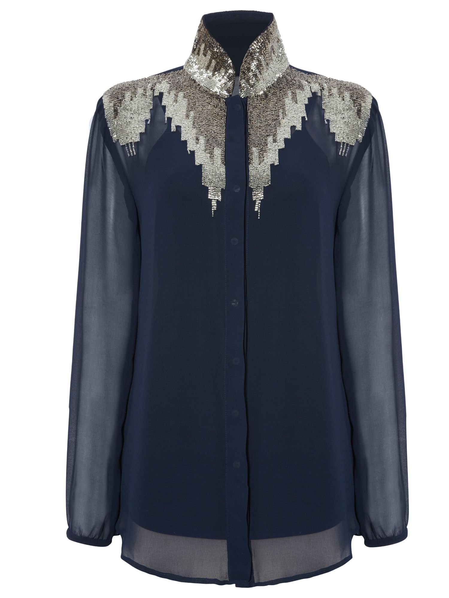 RAISHMA Embellished Detailed Shirt, Blue