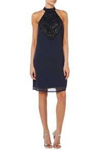 RAISHMA High Neck Beaded Shift Dress