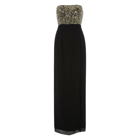 RAISHMA Black and Gold Bodice Maxi