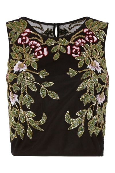 RAISHMA Floral Embroidered Crop Top