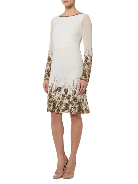 RAISHMA Ivory with Bronze Embroidery Shift Dress