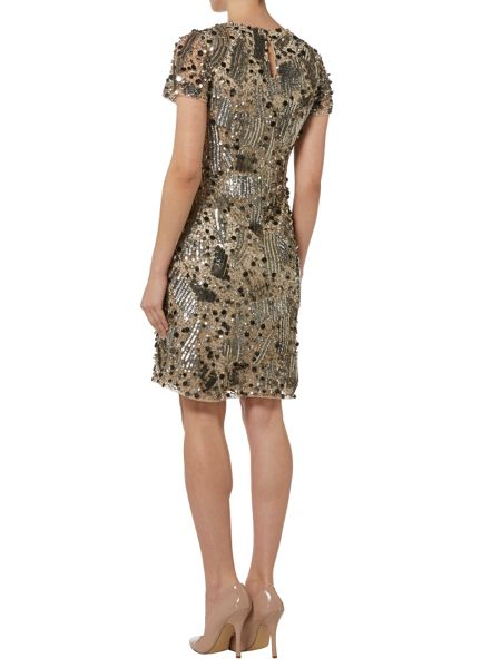 RAISHMA Silver and Nude Full Embellished Dress