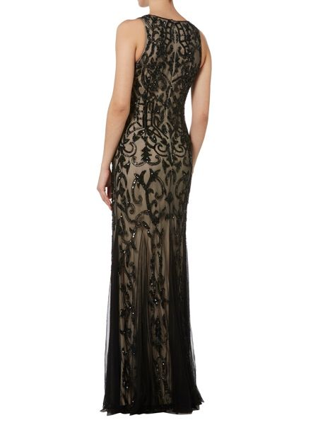 RAISHMA Black and Nude Beaded Evening Gown