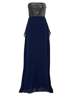Navy with Mercury Embellishment Gown