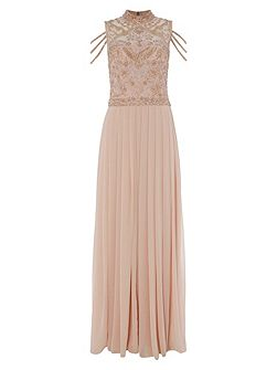 Blush Embroidered Maxi with Fallen Strap