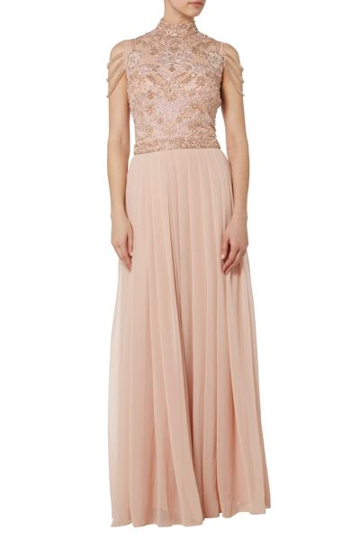RAISHMA Blush Embroidered Maxi with Fallen Strap