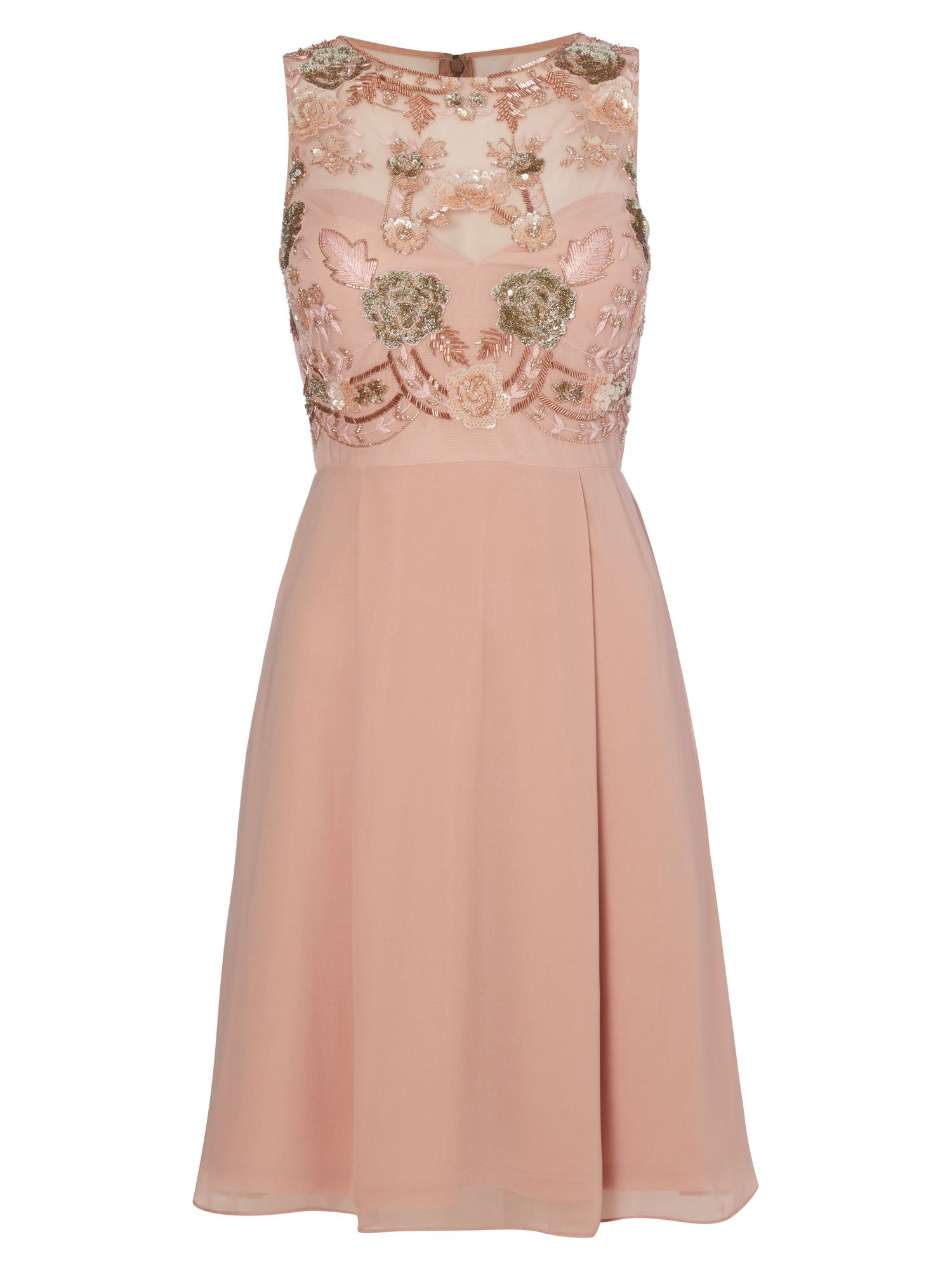 RAISHMA Blush Embellished Cocktail Dress, Pink