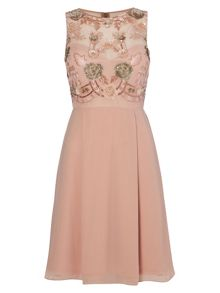 RAISHMA Blush Embellished Cocktail Dress