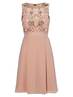Blush Embellished Cocktail Dress